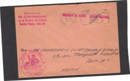 Lettre Franchise   - Service Militaire - Etat Major Du Commandement De La Place De Paris  - Cachets - 1972 - Storia Postale