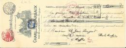 Marche-lez-Ecaussinnes , ( RM2)  Reçu De  63,00  Fr  ( 1906 )  Carrières De Pierres Bleues  Ch.Marbaix(Scierie A Vapeur) - Documents