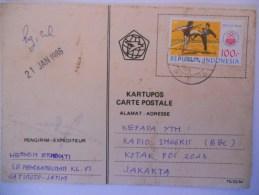 Indonesie Carte De 1986 Pour Jakarta - Indonesia
