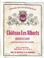 """LOT 3 ETIQUETTES BOUTEILLE VIN - Bx Rosé """"Chateau Les Alberts"""", Bx """"Château Tour Chapoux 82, Médoc """"Chateau Queyzans"""" 92 - Collections & Sets"""