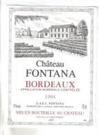 """LOT 3 ETIQUETTES BOUTEILLE VIN - Bx  """"Chateau Fontana""""1994, Bx """"Château Tour Chapoux 82, Médoc """"Chateau Queyzans"""" 92 - Collezioni & Lotti"""