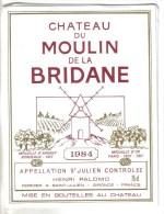 """LOT 3 ETIQUETTES BOUTEILLE VIN - St Julien """"Chat. Moulin Bridane""""84 Et """"Chat. Beauregard""""75, Médoc """"Chateau Queyzans"""" 92 - Collections, Lots & Séries"""