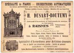 RAISMES Près De Valenciennes (Nord)  - Spécialité De Pianos , Accordéons Pour Artistes Et Joueurs - Cartes De Visite