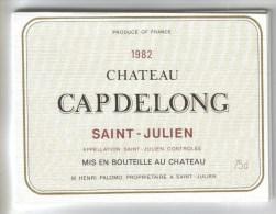 """LOT 3 ETIQUETTES BOUTEILLE VIN - St Julien """"Chat. Capdelong""""83,  """"Baronne Fontignac""""95, Médoc """"Chateau Queyzans"""" 92 - Collections & Sets"""