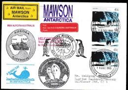 "ANTARCTIC, AAT, MAWSON 15.DEC 1993, 6 Cachets M/V""AURORA AUSTRALIS""-visit  !! Look Scan !! .1012-30 - Antarctic Expeditions"