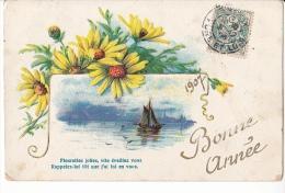 24248 Bonne Année - Sans Ed Serie 1003 -fleurette Jolies -relief Bateau - Nouvel An