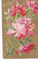 24249 Bonne Année - Ed J C Paris -bouquet Fleurs Relief Oeillet Or Rouge - Nouvel An