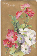 24250 Bonne Année - Ed J C Paris -bouquet Fleurs Relief  Or Rouge