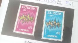 LOT 236022 TIMBRE DE ANDORRE NEUF** N�217/218 VALEUR 41 EUROS