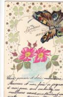 24253 Bonne Année - Sans Ed- Relief -fleur Papillon En Decoupi Sur Ressort Systeme