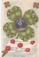 24254 Bonne Année - Sans Ed- Relief -trefle Coeur Amour Fille Lettre - Nouvel An