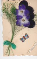 24257 Bonne Année - Sans Ed - Relizf Decoupis Fleur En Tissus Herbe Pensée Papillon - Nouvel An