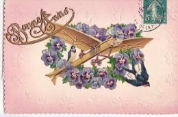 24259 Bonne Année  -sans Ed - Relief Pensée Avion Hirondelle Trefle