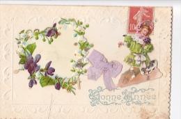 24261 Bonne Année  - Levallota Clichy - Systeme Decoupis Coeur Fillette Noeud - (en Double Pliée) - Nouvel An