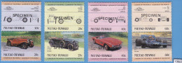 TUVALU Niutao 1985; SPECIMEN Mi: 37 - 44 Cpl. Set; MNH; Cars, Wolseley, Crossley, BMW, Tyrrell Ford - Voitures