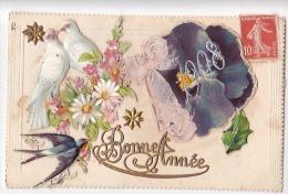 24264 Bonne Année  - Sans Editeur, Decoupis,  Colombe Hirondelle  -calendrier 1908 Dans La Pensee