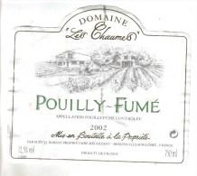 """LOT 3 ETIQUETTES BOUTEILLE VIN - Pouilly Fumé """"Les Chaumes""""2002, Pommard P. Mure, Bourgogne Blanc Pouilly Vinzelles - Collections & Sets"""