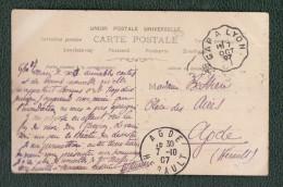 Carte Postale De 1907 -  Cachet De Gap à Lyon Du 7 Octobre Et Cachet D´ Agde - Frauen