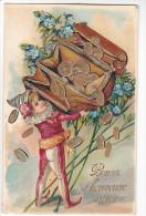 24269 Bonne Année - Sans Ed- Porte-monaie Or Argent Lutin Farfadet Enfant -relief -1905