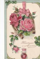 24270 Bonne Année - Ed PF 7173- Fer Cheval Roses Trefle Coeur -relief -190?