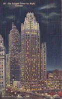 The Tribune Tower By Night Chicago Illinois 1943 - Chicago
