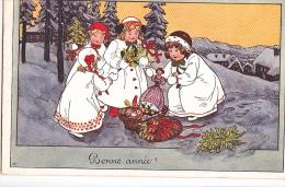 24272 Bonne Année -edBKWI 2788-1 -dessin AK  Fillette Poupée Jouet  -1911
