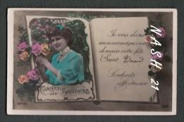 Carte Postale Ancienne - ''  Pour La Saint Edmond '', Portrait De Femme Et Fleurs - Holidays & Celebrations
