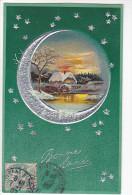 24276 Bonne Année -ed PF 6396 -hivers Lune Argent Etoile -1907 - Nouvel An