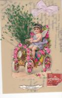 24277 Bonne Année -rodoide Decoupis -voiture Rose Chauffeur Enfant Herbe -