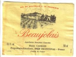 LOT 3 ETIQUETTES BOUTEILLE VIN - Beaujolais B. Carron, Beaujolais Village,  Blanc De Blanc - Lots & Sammlungen