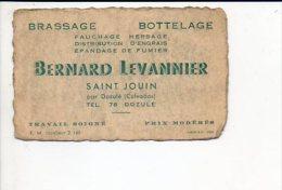 """Carte De Visite Publicitaire """"Bernard Levannier,Brassage,Bottelage,Fauchage,Epandage..."""" à Saint Jouin Par Dozulé - Cartoncini Da Visita"""