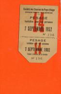 14 DEAUVILLE : Hippodrome Municipal De Clairefontaine - Ticket De Pesage - Société Des Courses Du Pays D'Auge - Deauville