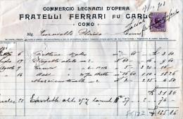 COMO-17-12-1908-COMO-COMMERCIO LEGNAMI D'OPERA-FRATELLI FERRARI -MARCA DA BOLLO CENT.10 - Italia