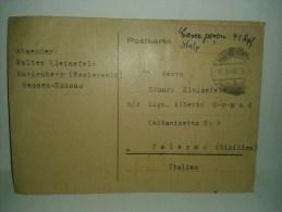 $3-4006 B Germania Deutsche Postkarte Card 1946 FELDPOST FRANZOSISCHE ZONE HESSEN To Italy. - Zona Francese