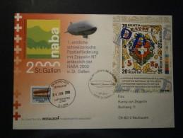 """SCHWEIZ Block 30 Briefmarkenausstellung """"Naba 2000 St. Gallen"""" Auf Gedenkbrief Mit Zeppelin Bordsiegel - Suisse"""