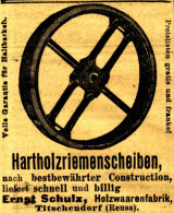 Original-Werbung/ Anzeige 1904 - HARTHOLZRIEMENSCHEIBEN / ERNST SCHULZ TITSCHENDORF (REUSS) - Ca. 45 X 55 Mm - Pubblicitari