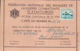 Reclamekaart Féderation Nationale Des Invalides De La Guerre Carte Membre Section St Vith 1946 - Unclassified