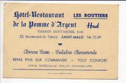 """Carte De Visite Publicitaire """"Huet,Hôtel-Restaurant De La Pomme D'Argent,Les Routiers """" à Saint Malo - Visiting Cards"""