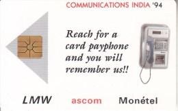 INDIA - Communications India 94, LMW/Ascom/Monetel Demo Telecard 100 Units, Tirage 1000, 10/94, Mint - India