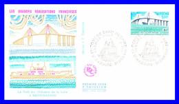 1856 (Yvert) Sur FDC (GF-PJ) St-Nazaire St-Brevin - Grandes Réalisations Françaises Pont De Saint-Nazaire - France 1975 - FDC