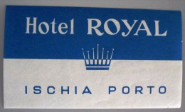 HOTEL PENSAO RESIDENCIAL PENSION ROYAL ISCHIA PORTO TAG DECAL STICKER LUGGAGE LABEL ETIQUETTE AUFKLEBER PORTUGAL - Hotel Labels