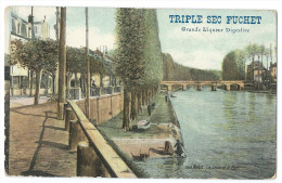 """Publicité """"TRIPLE SEC FUCHET""""  Grande Liqueur Digestive - Melun (Seine Et Marne) - Seine Et Le Pont - Animée - Colorisée - Publicité"""
