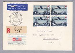 Schweiz Flugpost 1947-05-02 Swissair R-Brief Genève - Washington Mit 4er-Block Zu#PP42 - Posta Aerea