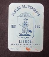 HOTEL PENSAO RESIDENCIAL PENSION ALJUBARROTA LISBOA LISBONNE DECAL STICKER LUGGAGE LABEL ETIQUETTE AUFKLEBER PORTUGAL - Hotel Labels