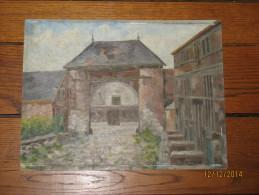 Tableau, Peinture à L´huile Sur Bois Signée L. Malvaux - Entrée De Ferme - Province De Liège - A SITUER ??? - Olieverf