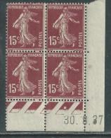 France N° 189 X Type Semeuse : 15 C. Brun-lilas En Bloc De 4 Coin Daté Du 30 . 8 . 37 ; Trace De Charnière Sinon TB - ....-1929