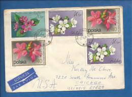 Lettre De Pologne Pour Les USA De 1974 - YT N° 1980, 1981, 2058 - Fleur - Rhododendron - Pommier Et Poirier à Fleur - - Plants