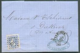 N°31 - 20 Centimes Bleu, Obl. LP. 351 Sur Lettre De TERMONDE Du 28 Octobre 1871 Vers Diekirch (Grand-Duché De Luxembourg - 1869-1883 Leopold II