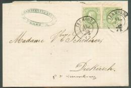 N°30(2) - 10 Centimes (paire) , Obl. Dc TERMONDE Sur Lettre Du 14 Octobre 1875 Vers Diekirch (Grand-Duché De Luxembourg) - 1869-1883 Leopold II