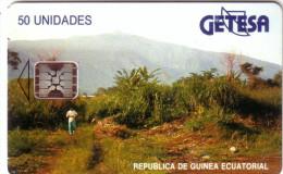 GUINEE EQUATORIALE LANDSCAPE PAYSAGE 50U SC5 N° ROUGES REDS UT - Equatorial Guinea